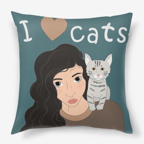 Подушка «I love cats»