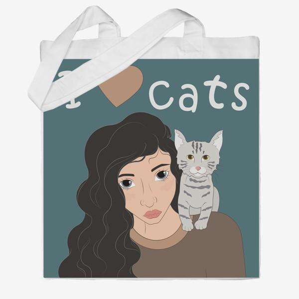 Сумка хб «I love cats»