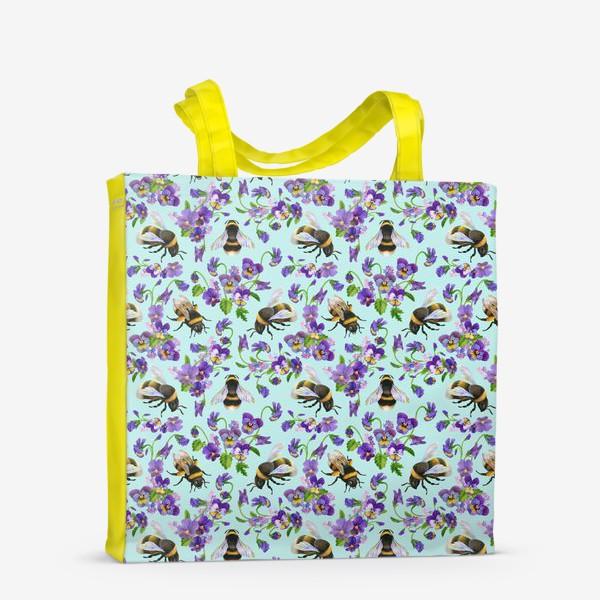 Сумка-шоппер «Шмели и фиалки на бирюзовом фоне»