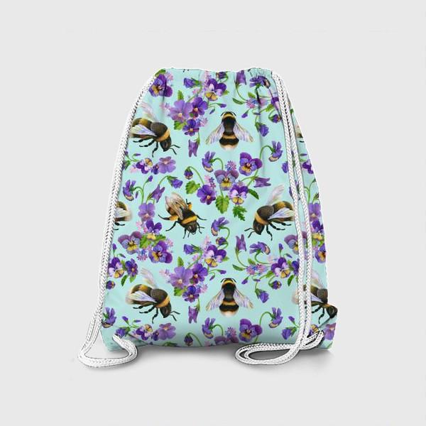 Рюкзак «Шмели и фиалки на бирюзовом фоне»