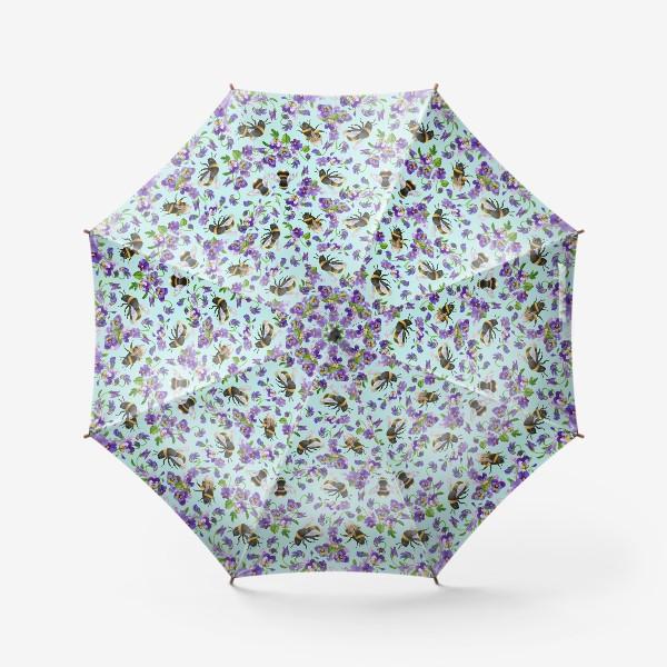 Зонт «Шмели и фиалки на бирюзовом фоне»