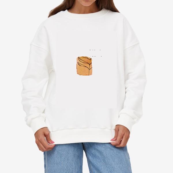 Свитшот «Абстракция. Оранжевая акварель, ветвь»