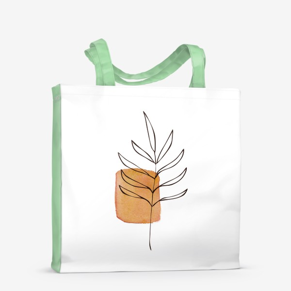 Сумка-шоппер «Абстракция. Оранжевая акварель, ветвь»