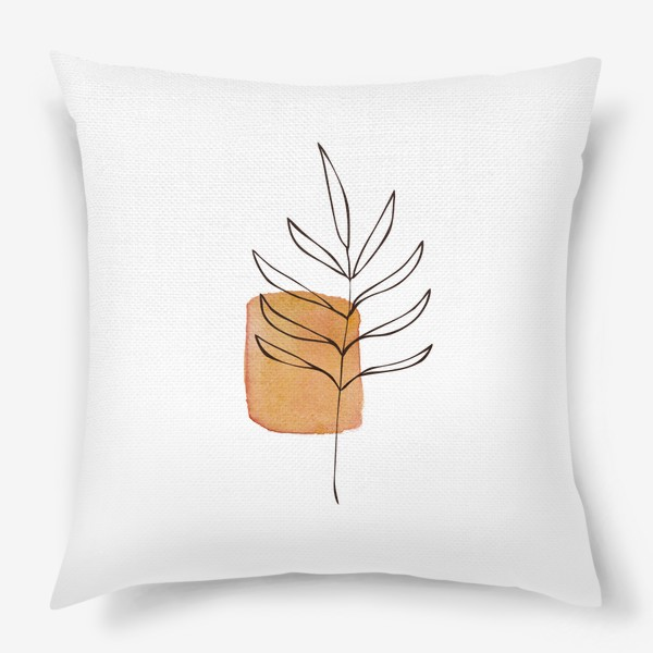 Подушка «Абстракция. Оранжевая акварель, ветвь»