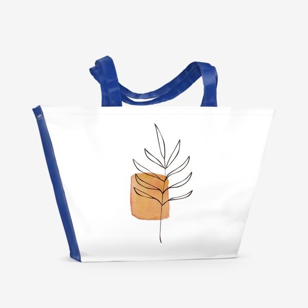 Пляжная сумка «Абстракция. Оранжевая акварель, ветвь»