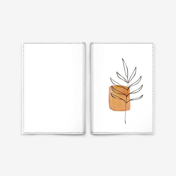 Обложка для паспорта «Абстракция. Оранжевая акварель, ветвь»
