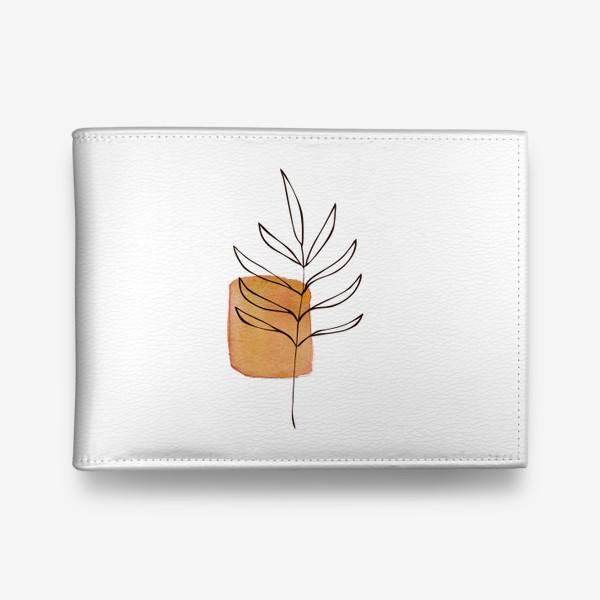 Кошелек «Абстракция. Оранжевая акварель, ветвь»