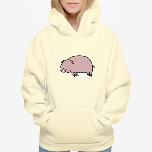 Худи «Свинка лежит на боку»