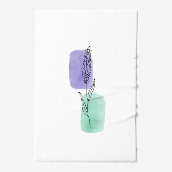 Полотенце «Абстракция. Сиреневая и бирюзовая акварель, лаванда»