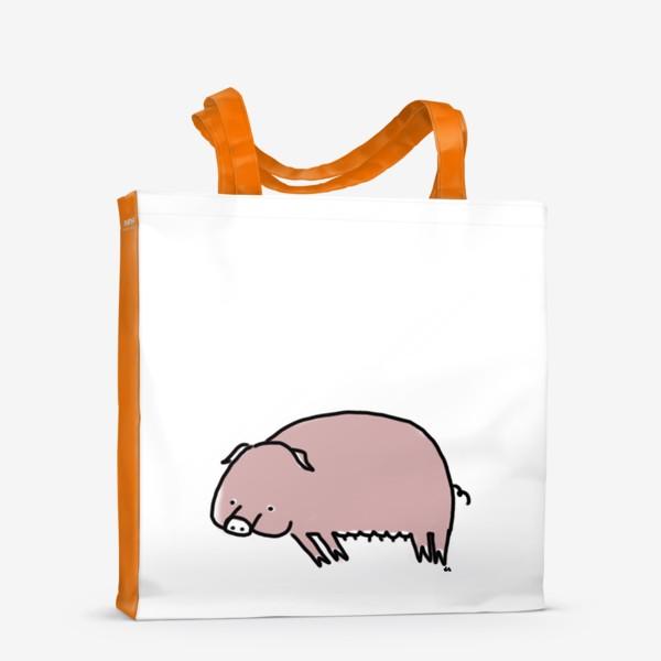 Сумка-шоппер «Свинка лежит на боку»