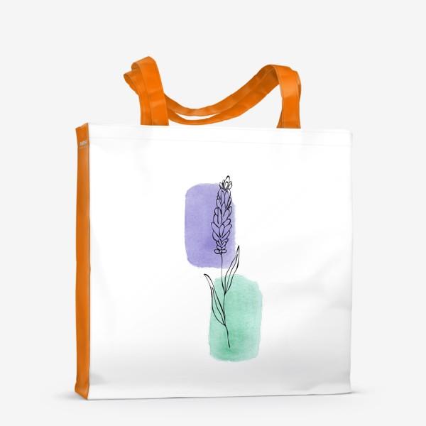 Сумка-шоппер «Абстракция. Сиреневая и бирюзовая акварель, лаванда»