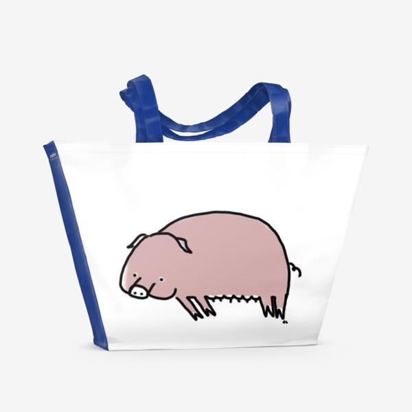 Пляжная сумка «Свинка лежит на боку»