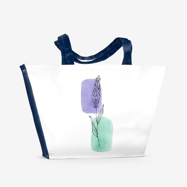 Пляжная сумка «Абстракция. Сиреневая и бирюзовая акварель, лаванда»