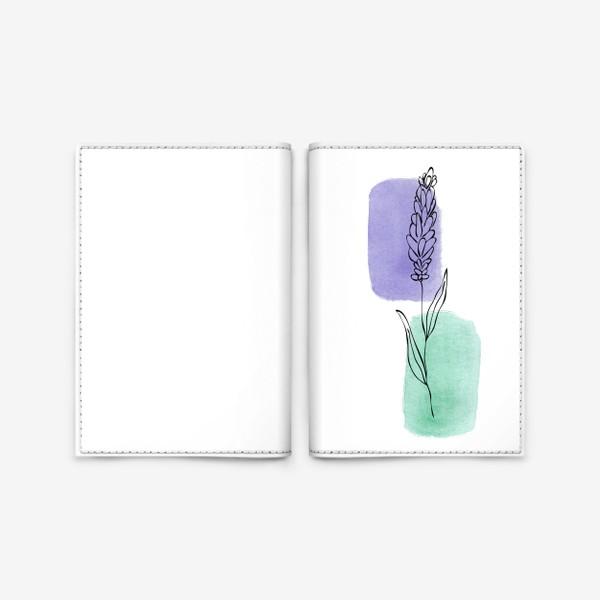 Обложка для паспорта «Абстракция. Сиреневая и бирюзовая акварель, лаванда»