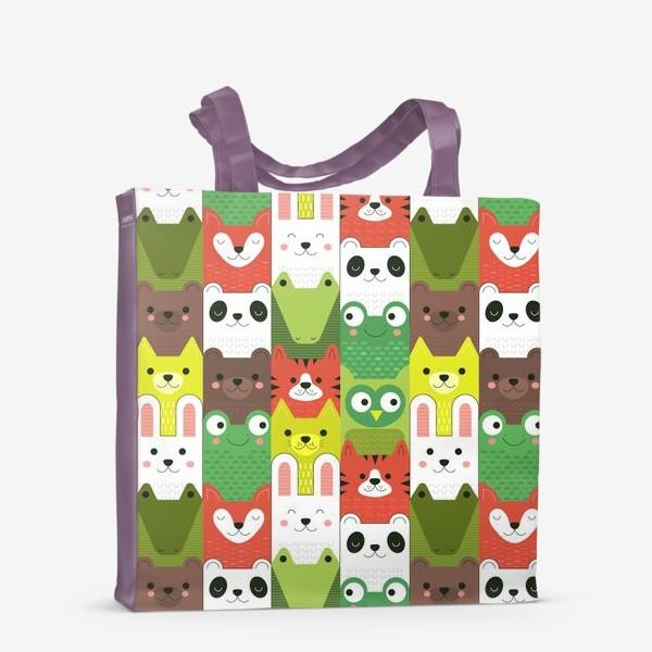 Сумка-шоппер «Детский  зоо принт - геометричные звери»
