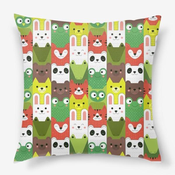 Подушка «Детский  зоо принт - геометричные звери»