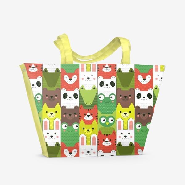 Пляжная сумка «Детский  зоо принт - геометричные звери»