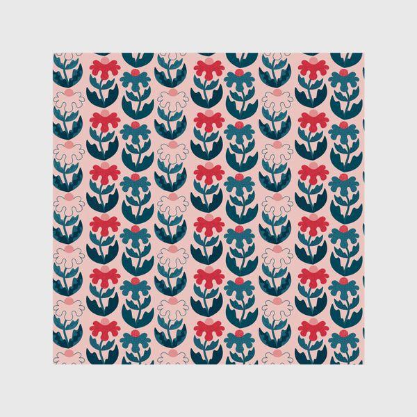 Шторы «Текстурные цветы - красный и синий»