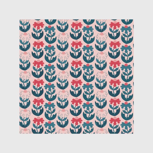 Скатерть «Текстурные цветы - красный и синий»