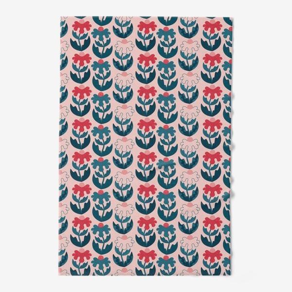 Полотенце «Текстурные цветы - красный и синий»