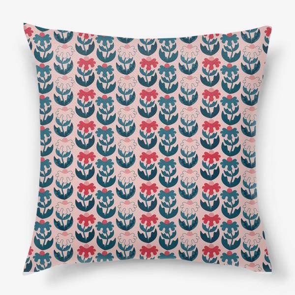 Подушка «Текстурные цветы - красный и синий»