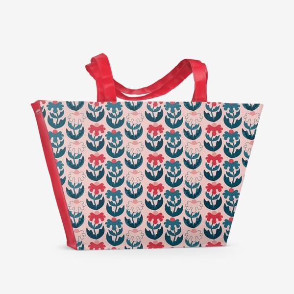 Пляжная сумка «Текстурные цветы - красный и синий»