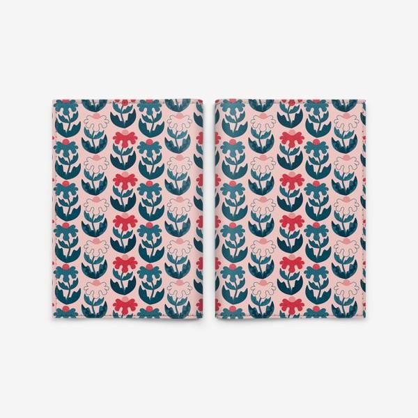 Обложка для паспорта «Текстурные цветы - красный и синий»