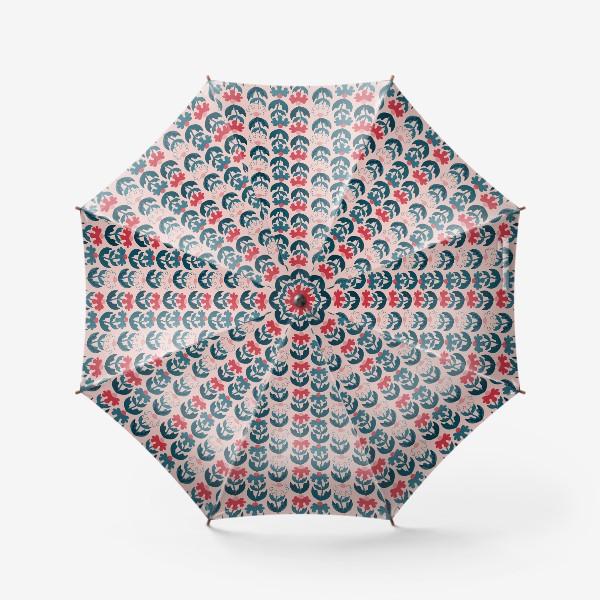 Зонт «Текстурные цветы - красный и синий»