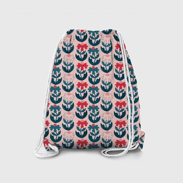Рюкзак «Текстурные цветы - красный и синий»