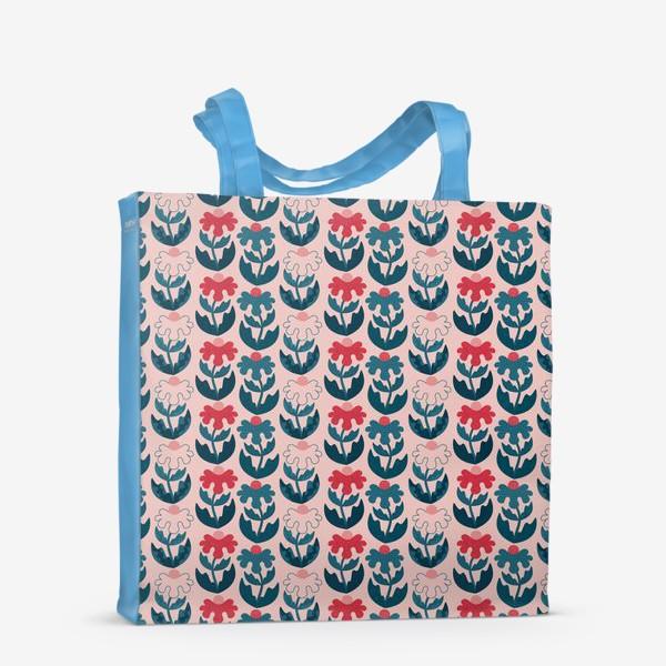 Сумка-шоппер «Текстурные цветы - красный и синий»