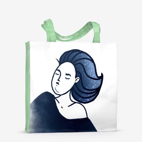 Сумка-шоппер «Звёзды ночь синее женщина»
