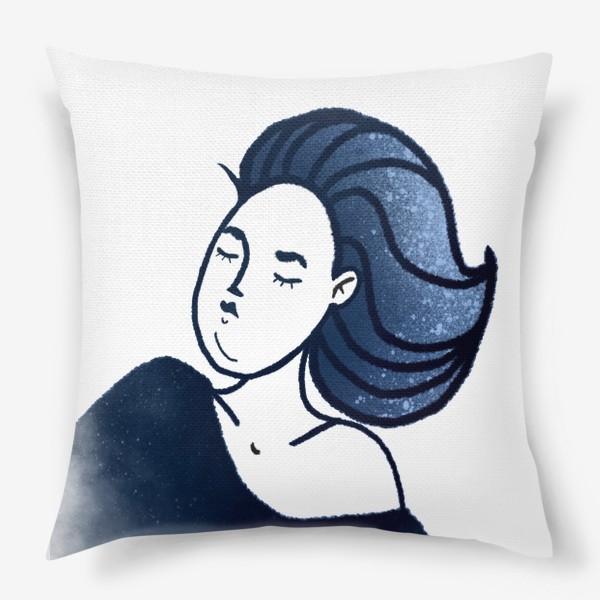 Подушка «Звёзды ночь синее женщина»