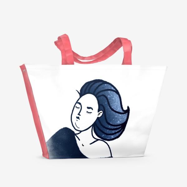 Пляжная сумка «Звёзды ночь синее женщина»