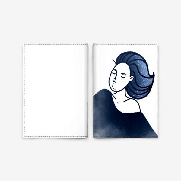 Обложка для паспорта «Звёзды ночь синее женщина»