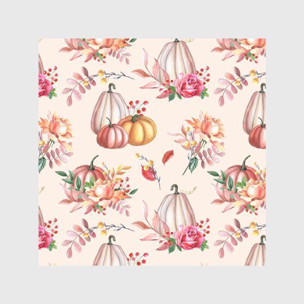 Шторы «Осенние тыквы и розы»
