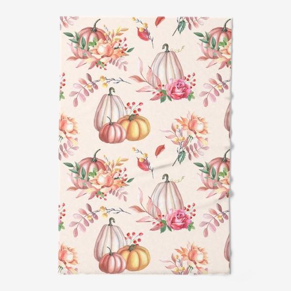 Полотенце «Осенние тыквы и розы»