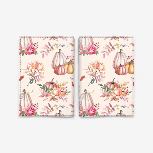 Обложка для паспорта «Осенние тыквы и розы»