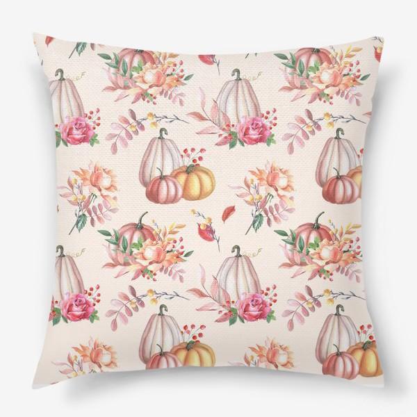 Подушка «Осенние тыквы и розы»