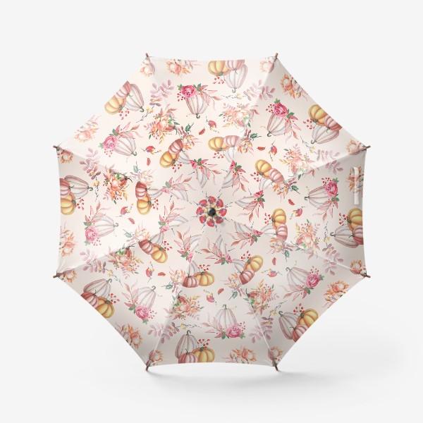 Зонт «Осенние тыквы и розы»