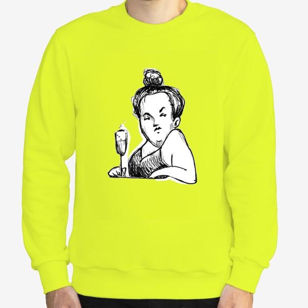 Свитшот «Женщина вино бокал шампанское пышечка»