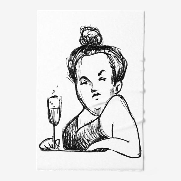 Полотенце «Женщина вино бокал шампанское пышечка»