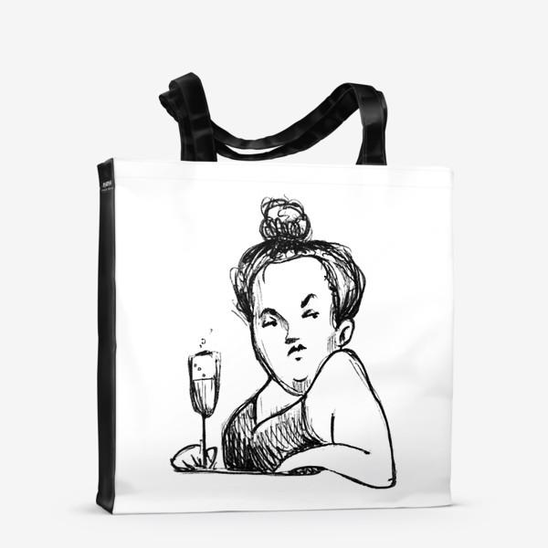 Сумка-шоппер «Женщина вино бокал шампанское пышечка»