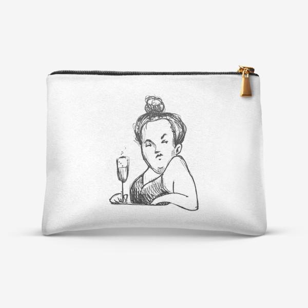 Косметичка «Женщина вино бокал шампанское пышечка»