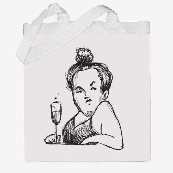 Сумка хб «Женщина вино бокал шампанское пышечка»