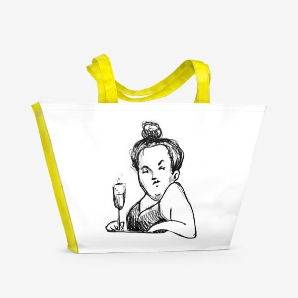 Пляжная сумка «Женщина вино бокал шампанское пышечка»