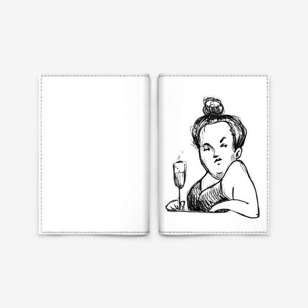 Обложка для паспорта «Женщина вино бокал шампанское пышечка»