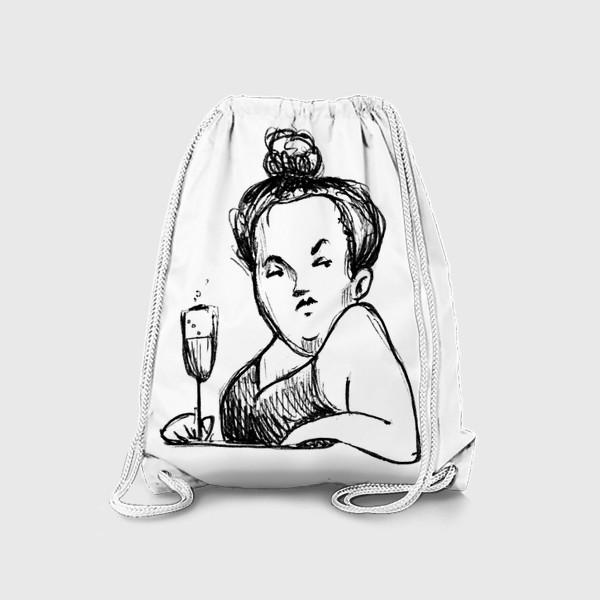 Рюкзак «Женщина вино бокал шампанское пышечка»
