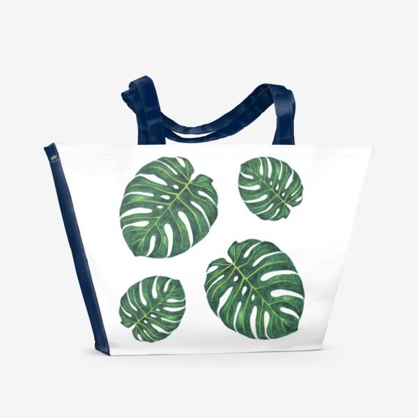Пляжная сумка «Монстера на белом»