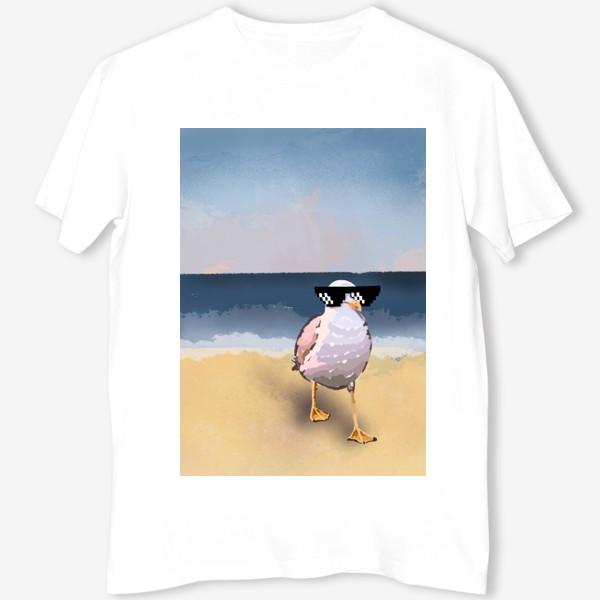 Футболка «Чайка море песок лето пляж бархатный сезон»