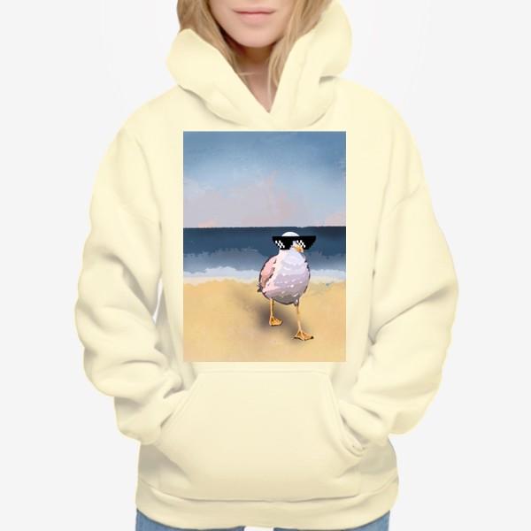 Худи «Чайка море песок лето пляж бархатный сезон»
